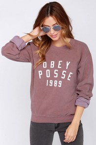 Obey Phys Ed Washed Burgundy Sweatshirt at Lulus.com!
