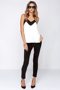 Two-Tone It Down Black and Ivory Top at Lulus.com!