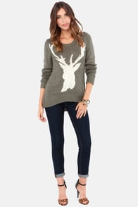 Billabong Natures Callin Grey Deer Print Sweater at Lulus.com!