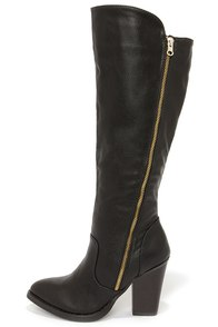 Hot and Edgy Black Knee High Heel Boots at Lulus.com!