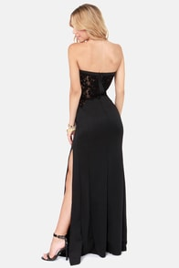 TFNC Patcha Strapless Black Maxi Dress at Lulus.com!