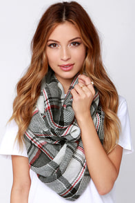 Shiver Me Timber Faller Grey and Ivory Plaid Infinity Scarf at Lulus.com!