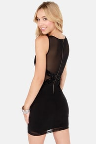 TFNC Hologram Beaded Black Bodycon Dress at Lulus.com!