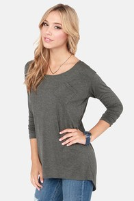 Carefree As a Bird Long Sleeve Grey Top at Lulus.com!