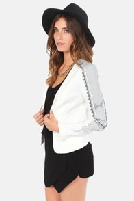 With Open Arms Embroidered Ivory Blazer at Lulus.com!