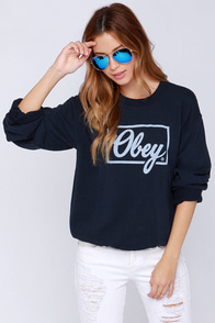 Obey Club Script Navy Blue Sweatshirt at Lulus.com!
