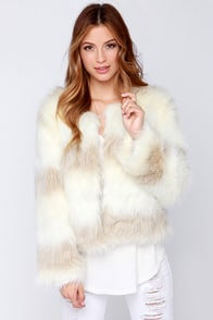 Raga Fluff of Legends Ivory Faux Fur Jacket at Lulus.com!