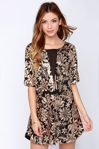 Lovers + Friends Saturday Night Black and Gold Sequin Dress at Lulus.com!