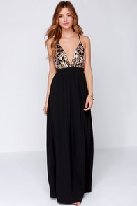 Lovers + Friends Good as Gold Black and Gold Sequin Maxi Dress at Lulus.com!