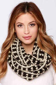 Forever and Always Beige and Black Knit Infinity Scarf at Lulus.com!