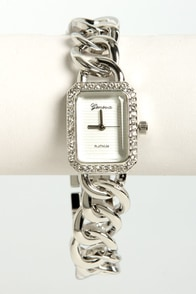 Link A-Gem! Rhinestone Silver Watch at Lulus.com!