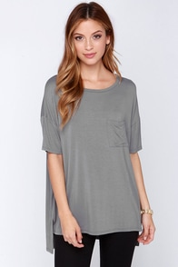 Make It Count Oversized Grey Tee at Lulus.com!