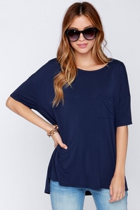 Make It Count Oversized Navy Blue Tee at Lulus.com!