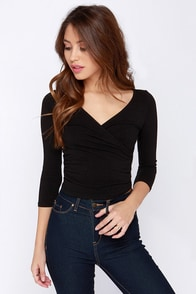 First Position Black Wrap Crop Top at Lulus.com!