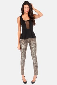 BB Dakota by Jack Violet Black Cutout Peplum Top at Lulus.com!