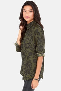 BB Dakota by Jack Ciara Olive Green Print Button-Up Top at Lulus.com!