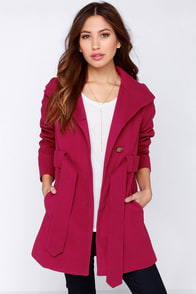Jack by BB Dakota Salinger Berry Red Frock Coat at Lulus.com!