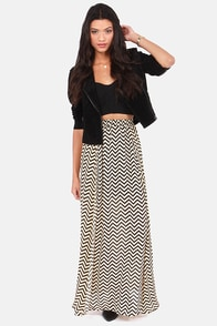 Slant Touch This Beige Chevron Print Maxi Skirt at Lulus.com!
