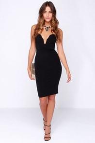 LULUS Exclusive Good Behavior Strapless Black Bodycon Dress