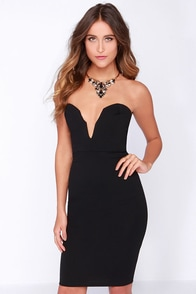 LULUS Exclusive Good Behavior Strapless Black Bodycon Dress at Lulus.com!