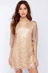 Under the Affluence Beige Sequin Dress at Lulus.com!