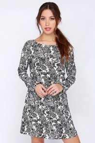 Dee Elle Tableau Top Ivory and Black Print Shift Dress at Lulus.com!
