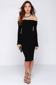 The One I Want Long Sleeve Off-the-Shoulder Black Dress at Lulus.com!