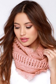 Charmed I'm Sure Blush Pink Knit Infinity Scarf at Lulus.com!
