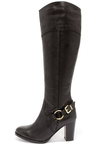 Diba True City Glaze Black Leather Knee High Heel Boots at Lulus.com!