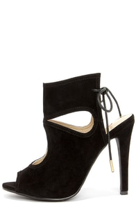 Came and Vent Black Suede Lace-Back Shootie Heels at Lulus.com!