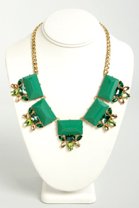 Glitz and Glamor Green Statement Necklace at Lulus.com!