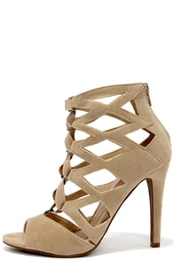 Cage Flight Natural Suede Caged Heels at Lulus.com!