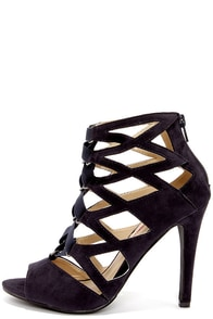 Cage Flight Navy Blue Suede Caged Heels at Lulus.com!