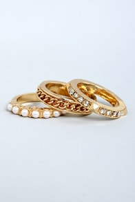 Three's Company Gold Ring Set at Lulus.com!