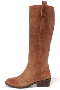 Very Volatile Sheeley Tan Leather Riding Boots at Lulus.com!