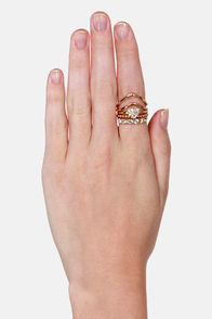Let's Grow Gold Together Gold Ring Set at Lulus.com!
