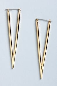 Triangle Your Best Gold Earrings at Lulus.com!