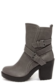 Soda Shena Grey High Heel Boots at Lulus.com!