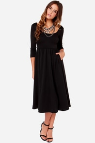 LULUS Exclusive At the Ballet Black Midi Dress at Lulus.com!