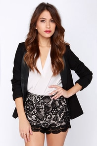 Steady Lace High-Waisted Black Lace Shorts at Lulus.com!