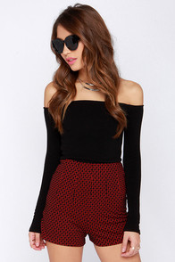 Pin Up the Ante High-Waisted Black and Red Print Shorts at Lulus.com!