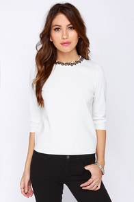 Necklace Is More Beaded Ivory Sweater at Lulus.com!