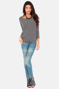 Dolman's Best Friend Black Striped Top at Lulus.com!