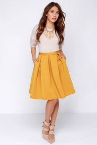 Perfect Balance Mustard Yellow Pleated Midi Skirt at Lulus.com!