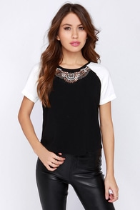Light Bead Ahead Ivory and Black Beaded Top at Lulus.com!