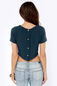 Euro Beats Navy Blue Crop Top at Lulus.com!