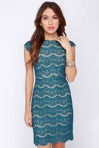 Darling Candice Teal Blue Lace Dress at Lulus.com!