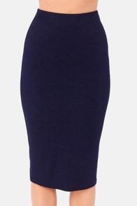 Getting Haute in Here Navy Blue Pencil Skirt at Lulus.com!
