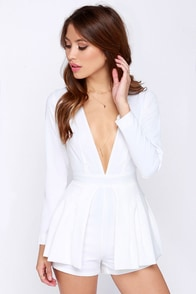 Lovers + Friends Love Always Ivory Long Sleeve Romper at Lulus.com!