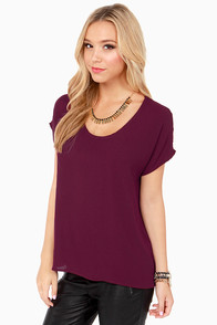 Tee You Later Burgundy Top at Lulus.com!